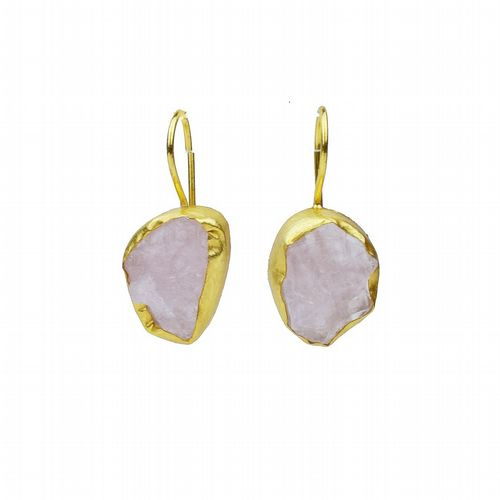 Raw Stone Drop Earrings - Rose Quartz